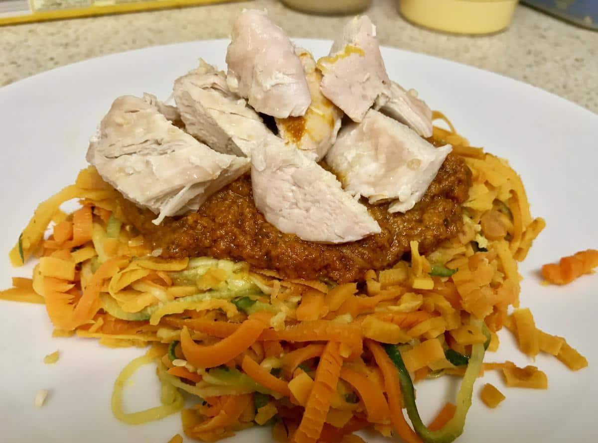 Sweet potato noodles with tomato pesto chicken