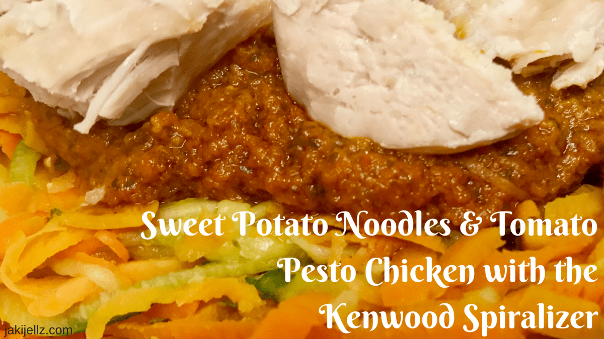 Sweet Potato Noodles & Tomato Pesto Chicken with the Kenwood Spiralizer